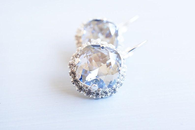 Silver Blue Swarovski Crystal Halo Earrings image 0