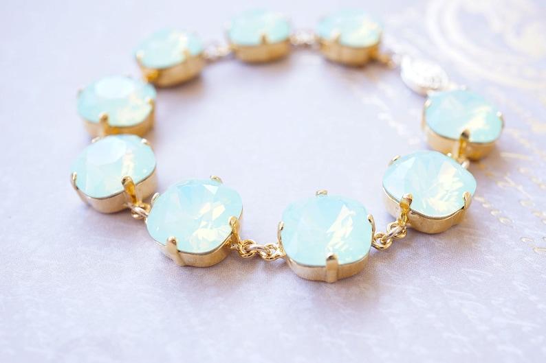 Gold and Mint Swarovski Crystal Bracelet image 0