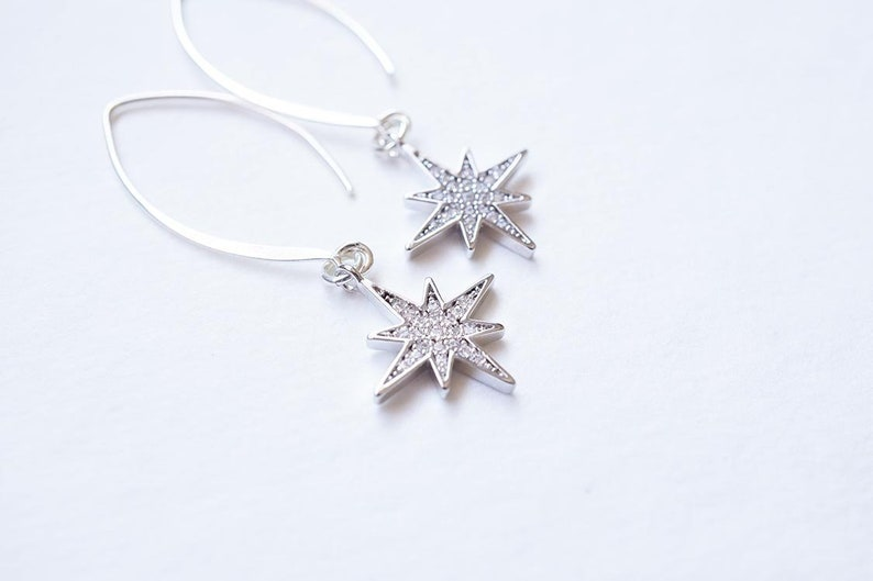 Long Silver CZ Starburst Earrings image 0