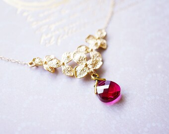 Necklace, Gold Necklace, Flower Necklace, Crystal Necklace, Pink Necklace, Handmade Necklace, Ruby Necklace, Bridesmaid Necklace, Gift