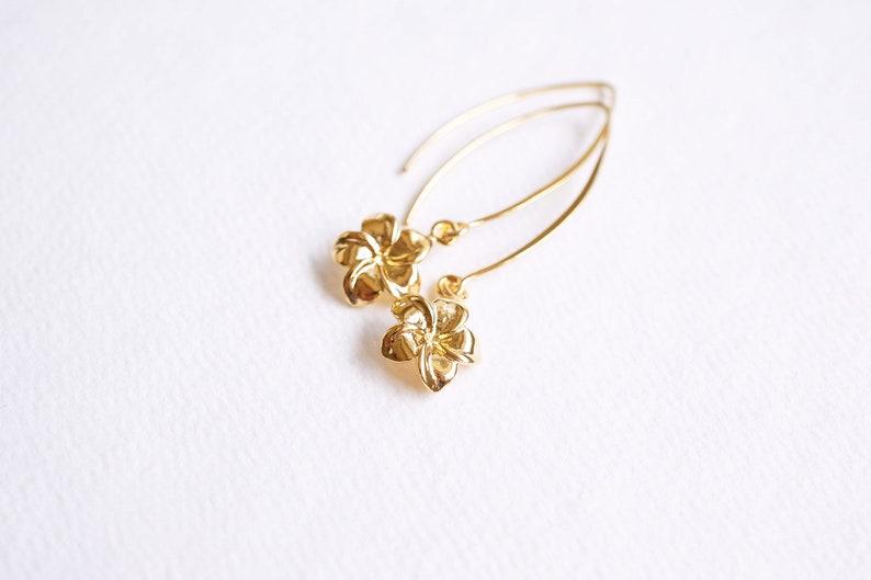 Long Gold Plumeria  Hawaii Earrings image 0