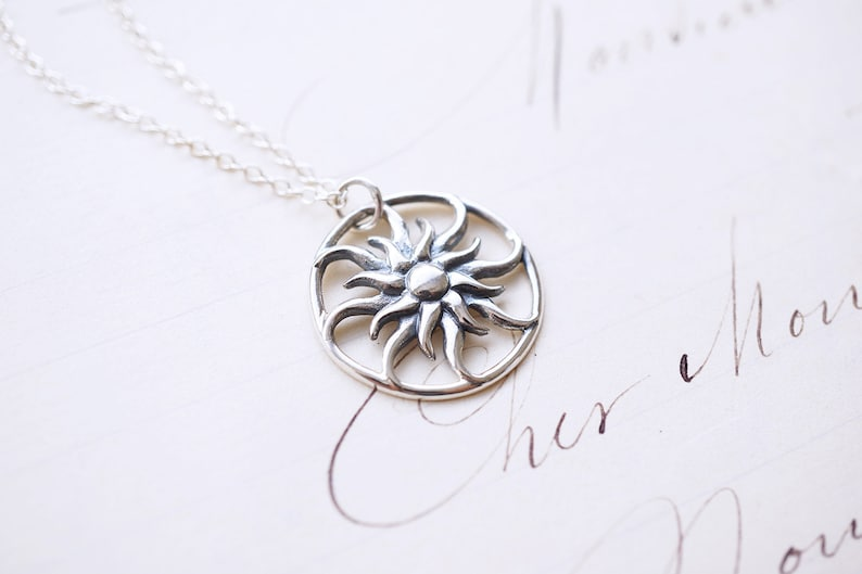 Sterling Silver Rapunzel Sun Necklace image 0