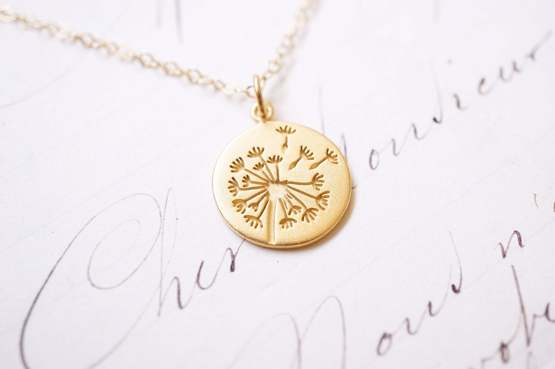 Gold Dandelion Puff Necklace image 0