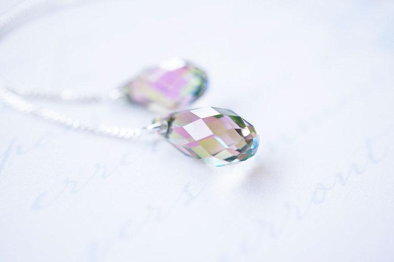 Silver Lavender Swarovski Crystal Threader Earrings image 0