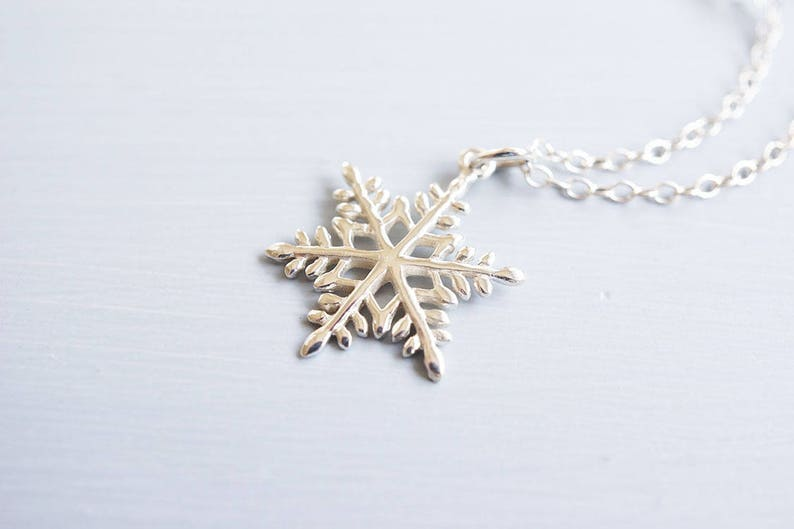Necklace Silver Necklace Snowflake Necklace Moonstone image 0