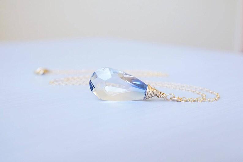 Gold Blue Ombre Swarovski Crystal Teardrop Necklace image 0