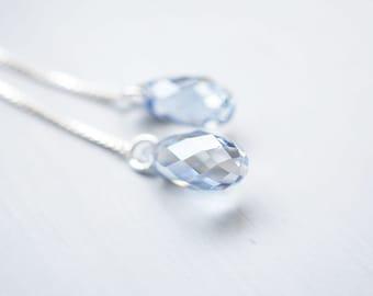 Earrings, Threader Earrings, Silver Earrings, Crystal Earrings, Dangle Earrings, Drop Earrings, Long Earrings, Blue Earrings, Gift for Her