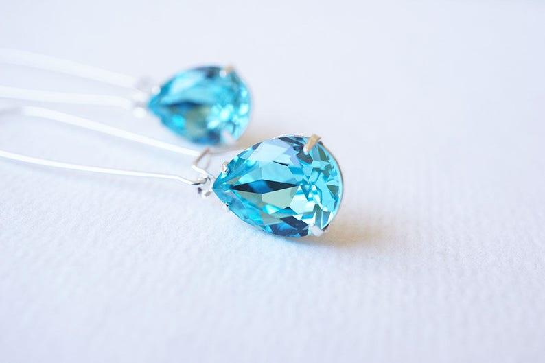 Long Silver Swarovski Crystal Aquamarine Drop Earrings image 0