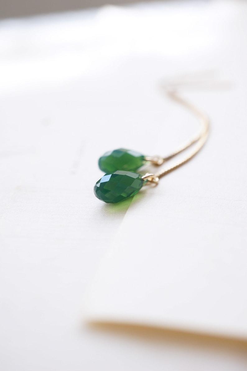 Swarovski Green Opal Gold Threader Earrings image 0