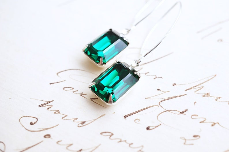 Long Silver Emerald Swarovski Crystal Earrings image 0