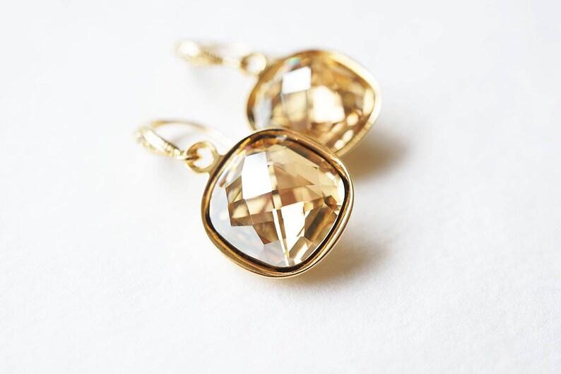 Gold Swarovski Cushion Cut Crystal Earrings image 0