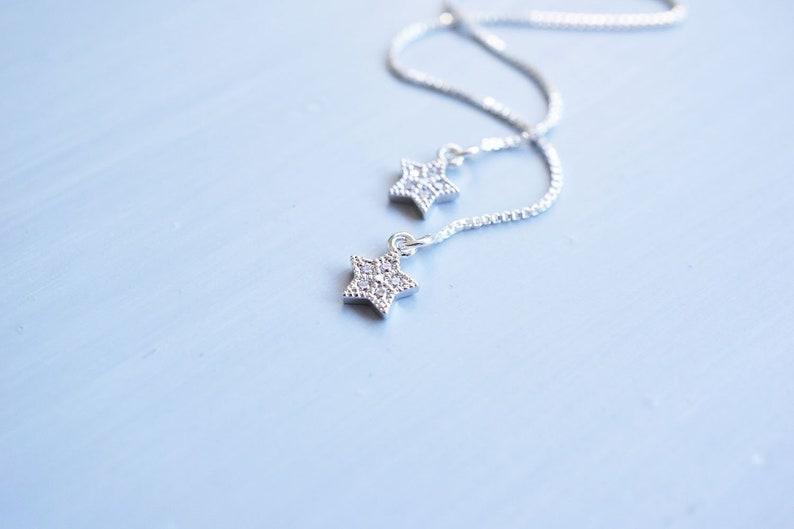 Sterling Silver CZ Star Threader Earrings image 0