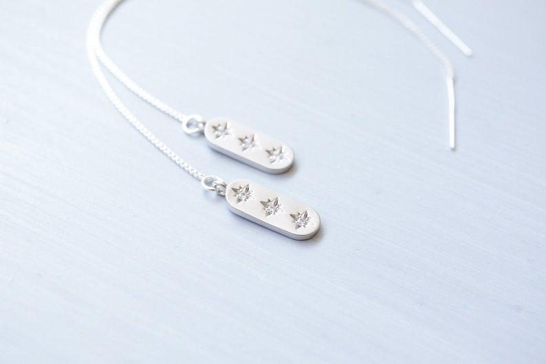 Silver Crystal Star Threader Earrings image 0