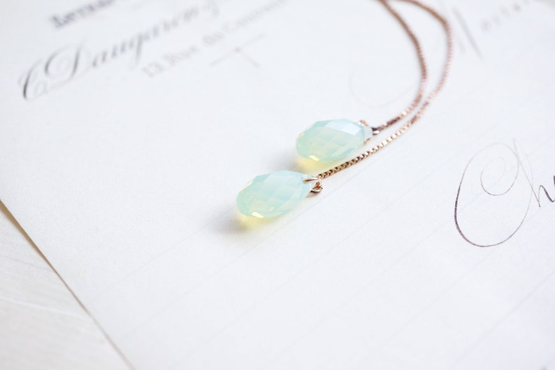 Rose Gold Mint Crystal Threader Earrings image 0