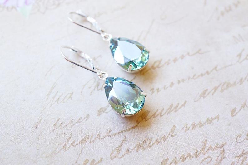 Silver Erinite Swarovski Crystal Drop Earrings image 0