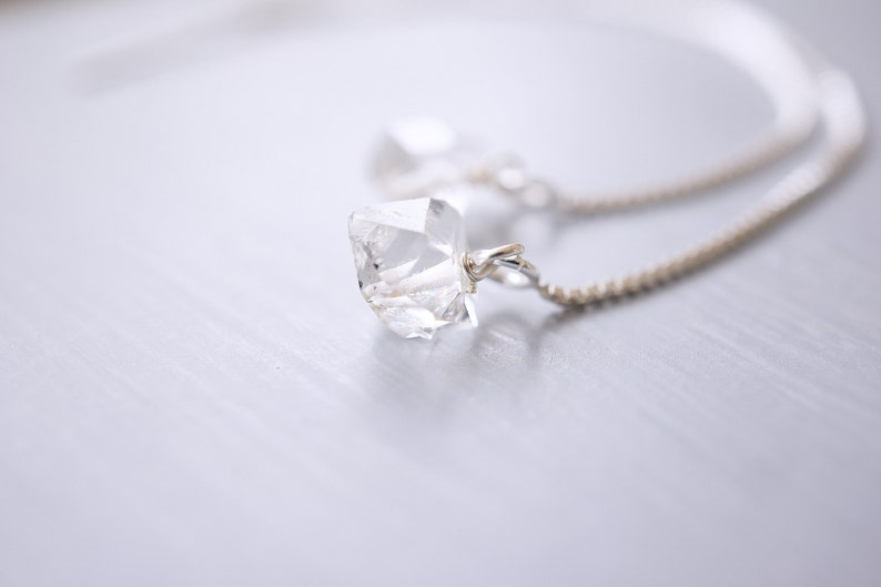 Raw Herkimer Diamond Silver Threader Earrings image 0