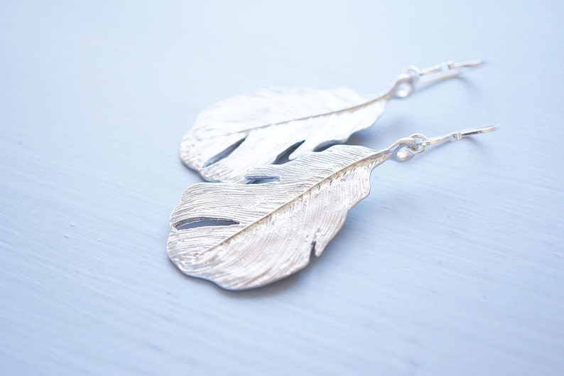 Long Silver Feather Earrings image 0