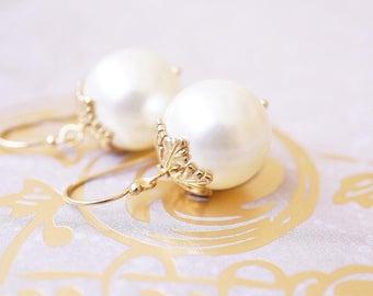 Earrings, Gold Earrings, Pearl Earrings, Snowflake Earrings, Dangle Earrings, Drop Earrings, Handmade Earrings, Bridesmaid Earrings, Gift