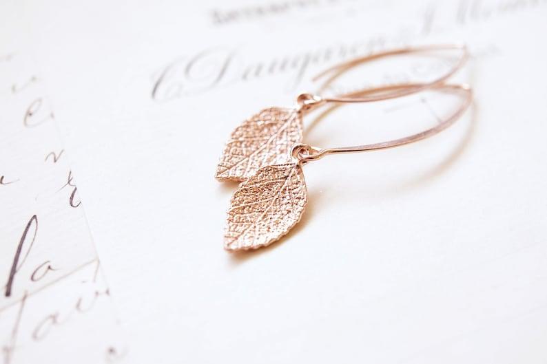 Long Rose Gold Leaf Earrings image 0