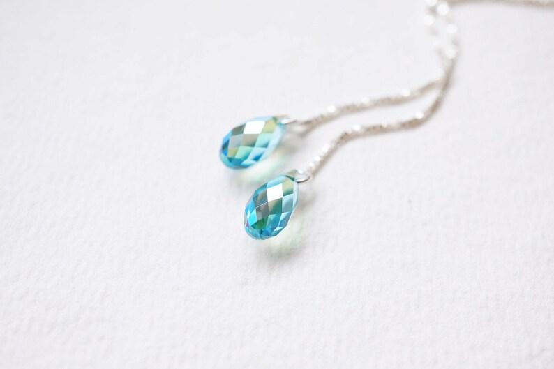 Shimmer Turquoise Swarovski Threader Earrings image 0
