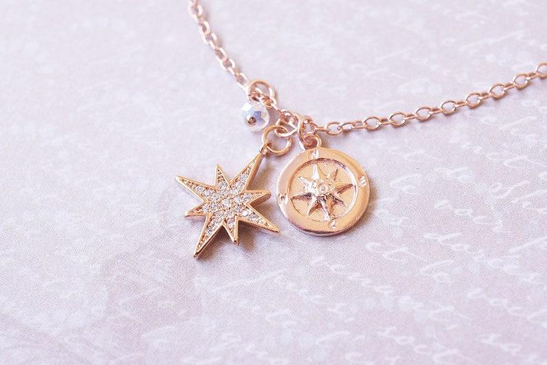Rose Gold Compass Crystal Starburst Necklace image 0