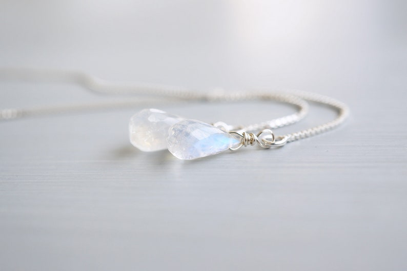 Moonstone Teardrop Silver Threader Earrings image 0
