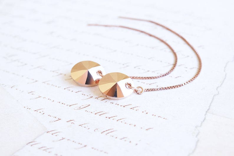 Rose Gold Swarovski Crystal Threader Earrings image 0
