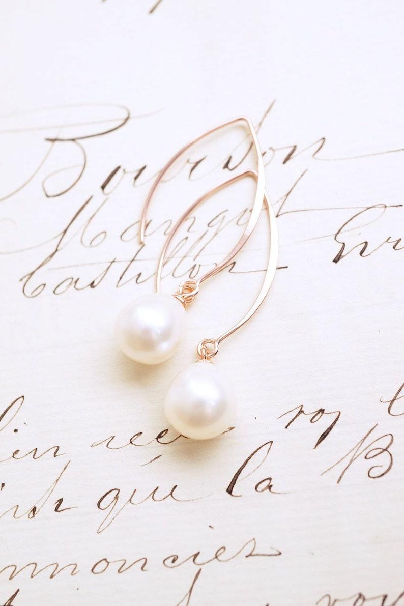 Long Rose Gold Freshwater Pearl Drop Earrings image 0