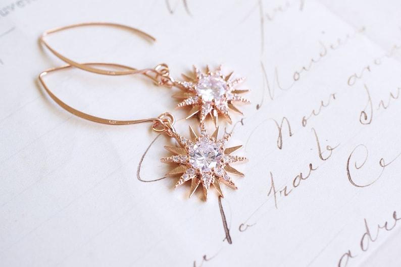 Rose Gold Cubic Zirconia Starburst Earrings image 0