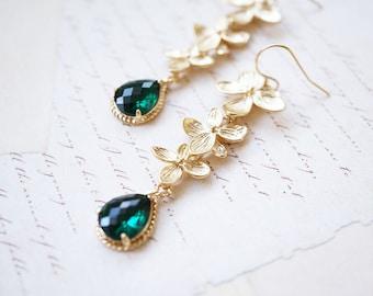 Earrings, Gold Earrings, Flower Earrings, Long Earrings, Dangle Earrings, Drop Earrings, Emerald Earrings, Handmade Earrings, Gift for Her