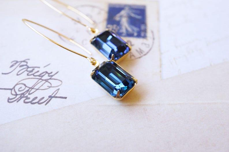 Gold Montana Blue Swarovski Crystal Earrings image 0