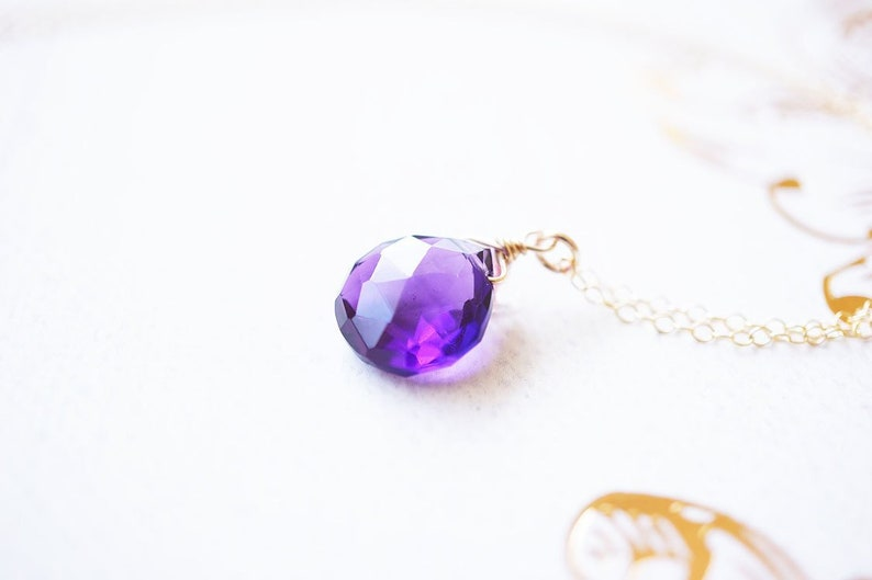 Gold Amethyst Pendant Necklace image 0