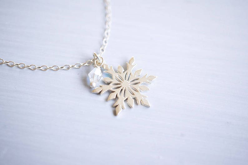 Sterling Silver Snowflake Crystal Necklace image 0