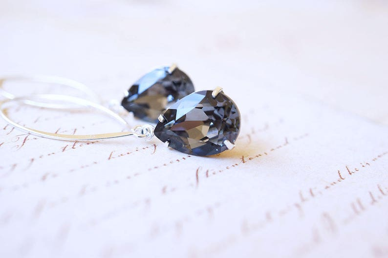 Long Silver Black Swarovski Crystal Drop Earrings image 0