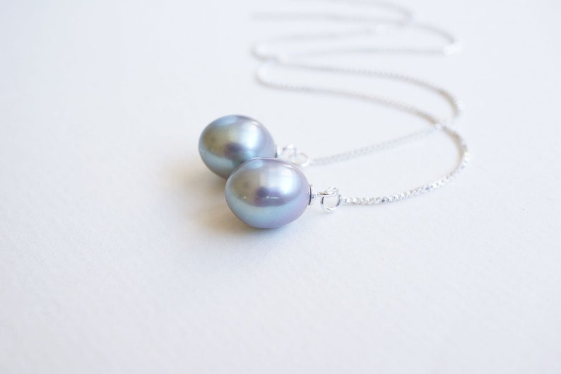 Silver Gray Freshwater Pearl Threader Earrings image 0