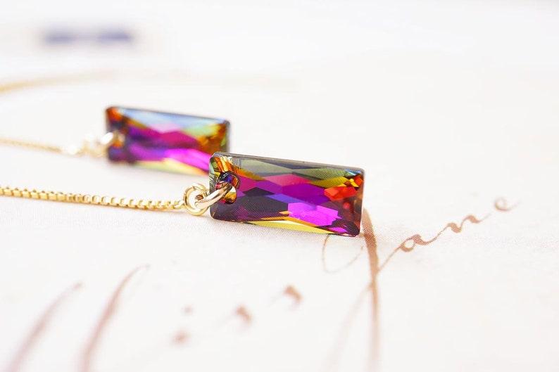 Gold Swarovski Crystal Volcano Pink Threader Earrings image 0