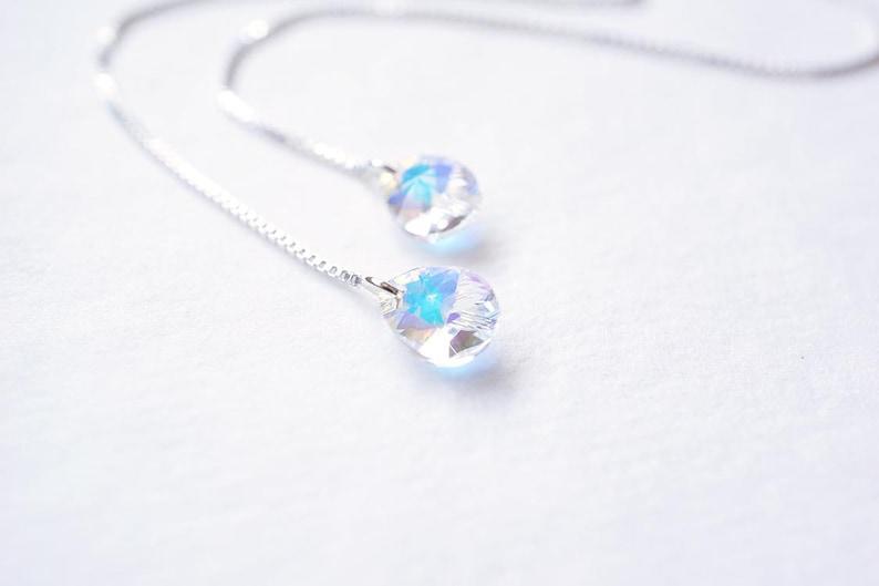 Silver Rainbow Crystal Teardrop Threader Earrings image 0