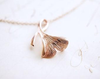 Rose Gold Gingko Leaf Necklace