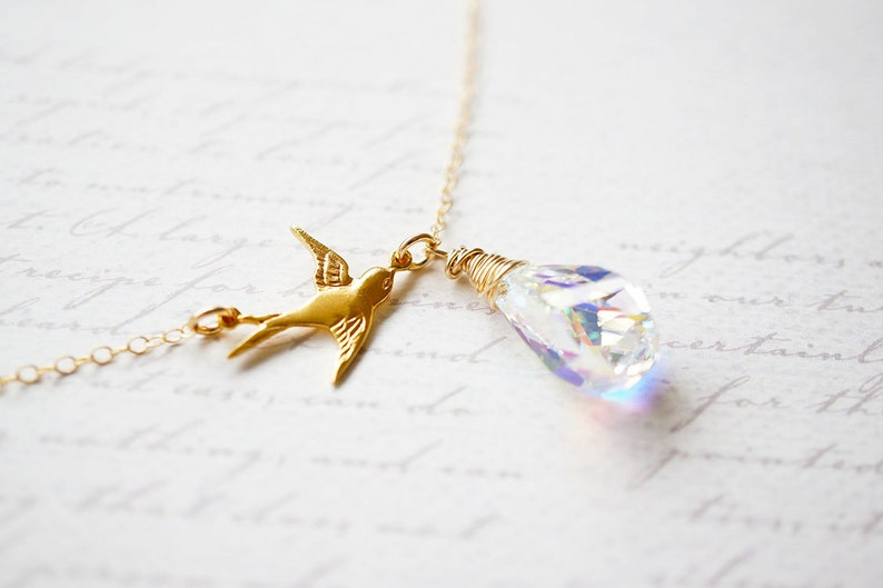 Necklace Gold Necklace Bird Necklace Crystal Necklace image 0