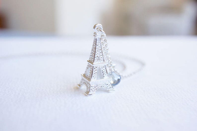 Sterling Silver Eiffel Tower Gemstone Necklace image 0