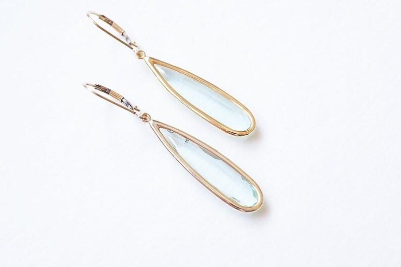 Long Gold Erinite Teardrop Earrings image 0
