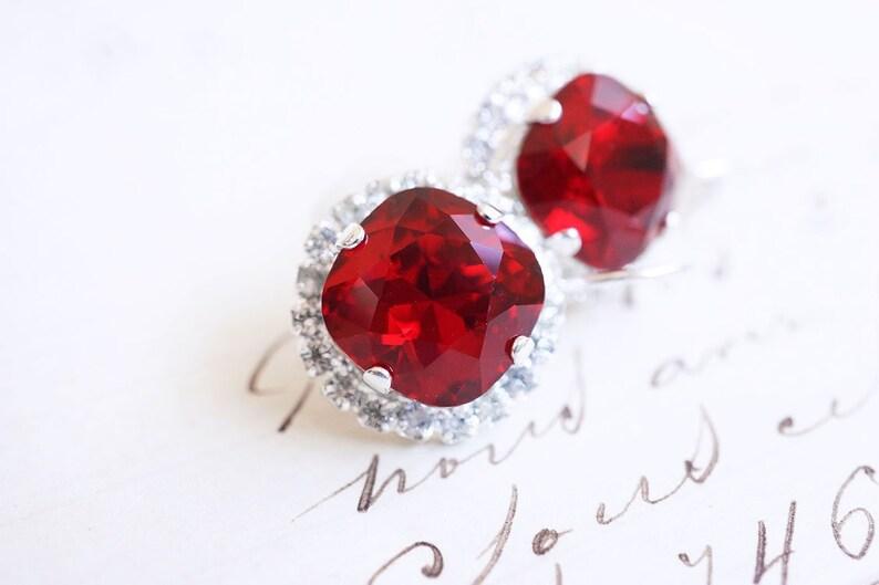 Silver Red Swarovski Crystal Halo Earrings image 0
