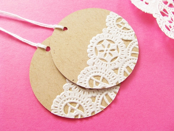 Items similar to ON SALE - Vintage Doilies Gift Tags - Set of 20 on Etsy