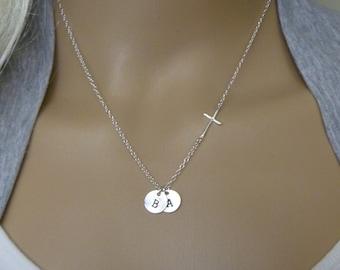 Sideways Cross Necklace - Monogram Necklace - Silver Initial Necklace - Cross Necklace - Christian Necklace - 1 2 3 4 5 6