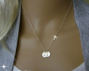 Sideways Cross Necklace - One Two or more Initial Necklace - Personalized Necklace - Sterling Silver - Mommy Necklace - Mothers Jewelry