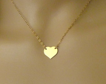 Heart Necklace - 14kt Gold Filled Heart Charm - Heart Jewelry - Heart Pendant - Mom Gift Jewelry