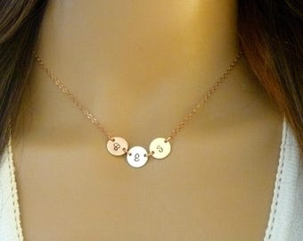 Tri Color Initial Necklace - Three Kids initials - Rose Gold - 14k gold filled - Sterling Silver - Moms Necklace - Mothers day Gift