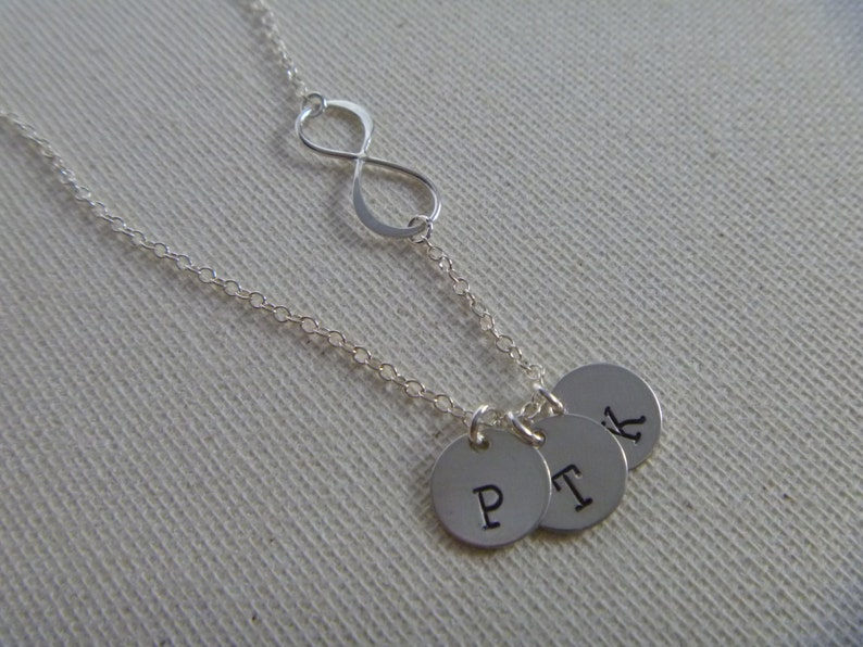 Gift for Mom Two Kids initials Mommy Mothers Day Gift For Women Sterling Silver Disc Charm Infinity Necklace Personalized with Initial