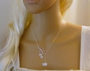 Bird Necklace, Lariat Necklace, Y Necklace, Branch Necklace with mom and 2 baby birds