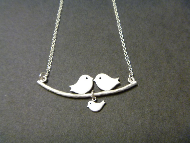 Love Birds Necklace Family of Birds Necklace Parent and Baby image 0
